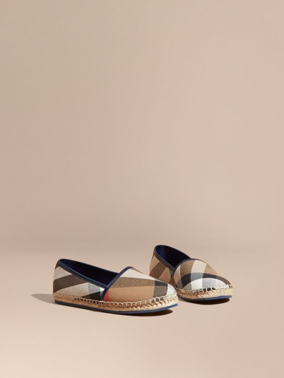 House Check Cotton Canvas Espadrilles Dark Sapphire