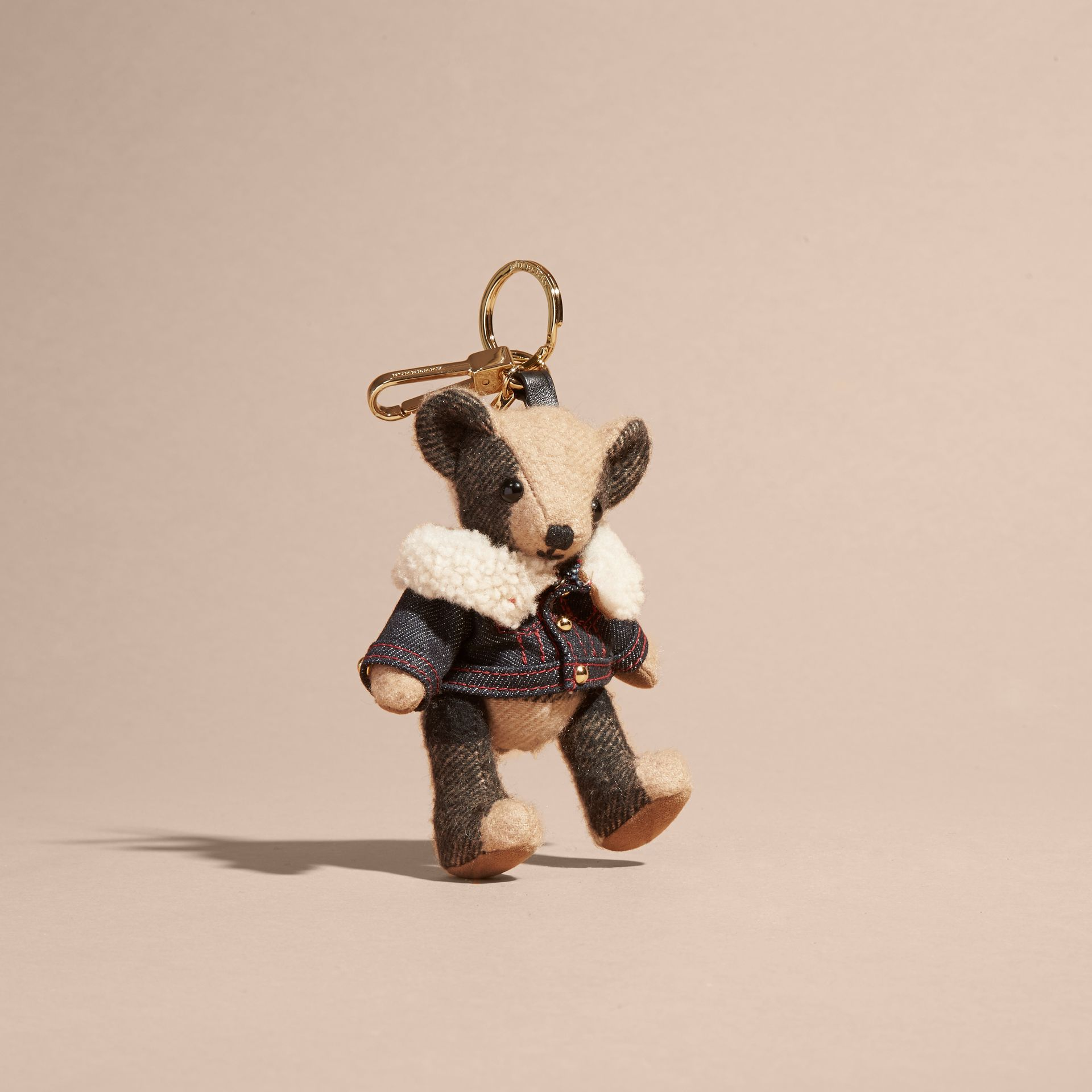 Thomas Bear Charm in Denim Jacket in Camel - Women | Burberry Canada - gallery image 1