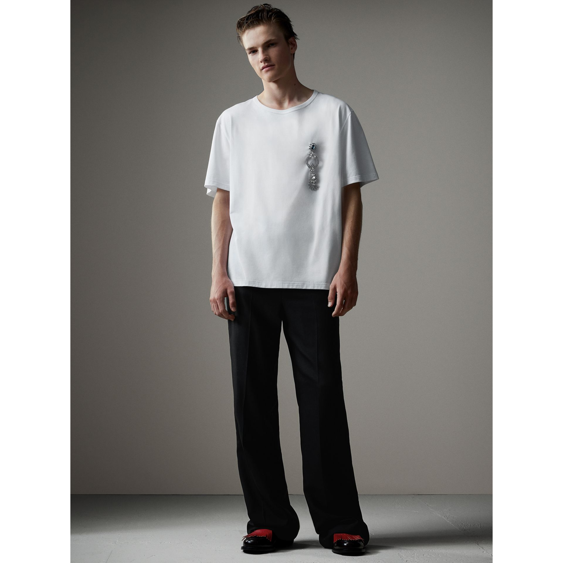 Boxy Fit T-shirt with Crystal Brooch in Optic White - Men | Burberry United Kingdom - gallery image 1