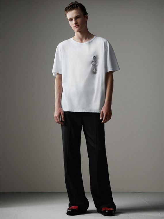 Boxy Fit T-shirt with Crystal Brooch in Optic White