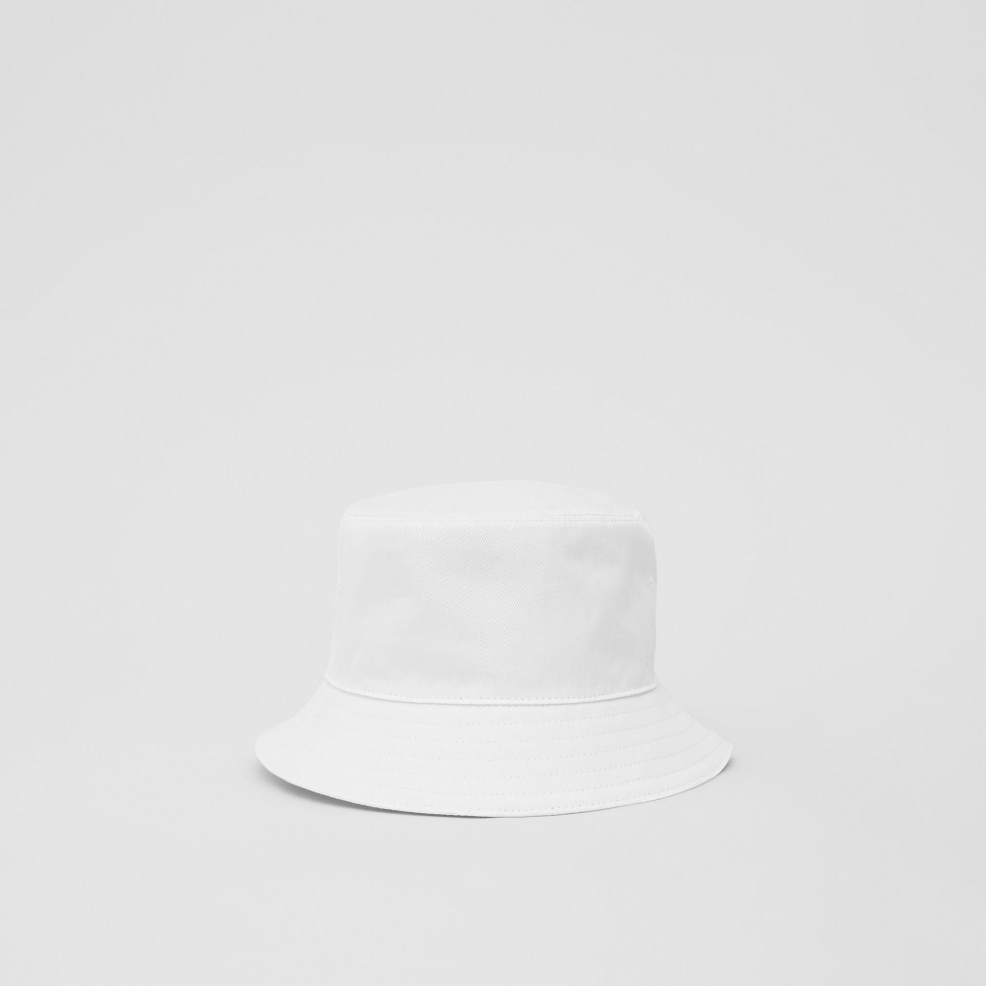 Logo Appliqué Cotton Bucket Hat in White | Burberry - gallery image 4