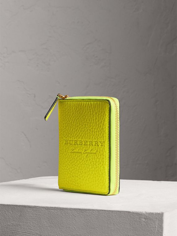 Embossed Grainy Leather Ziparound A6 Notebook Case in Bright Yellow