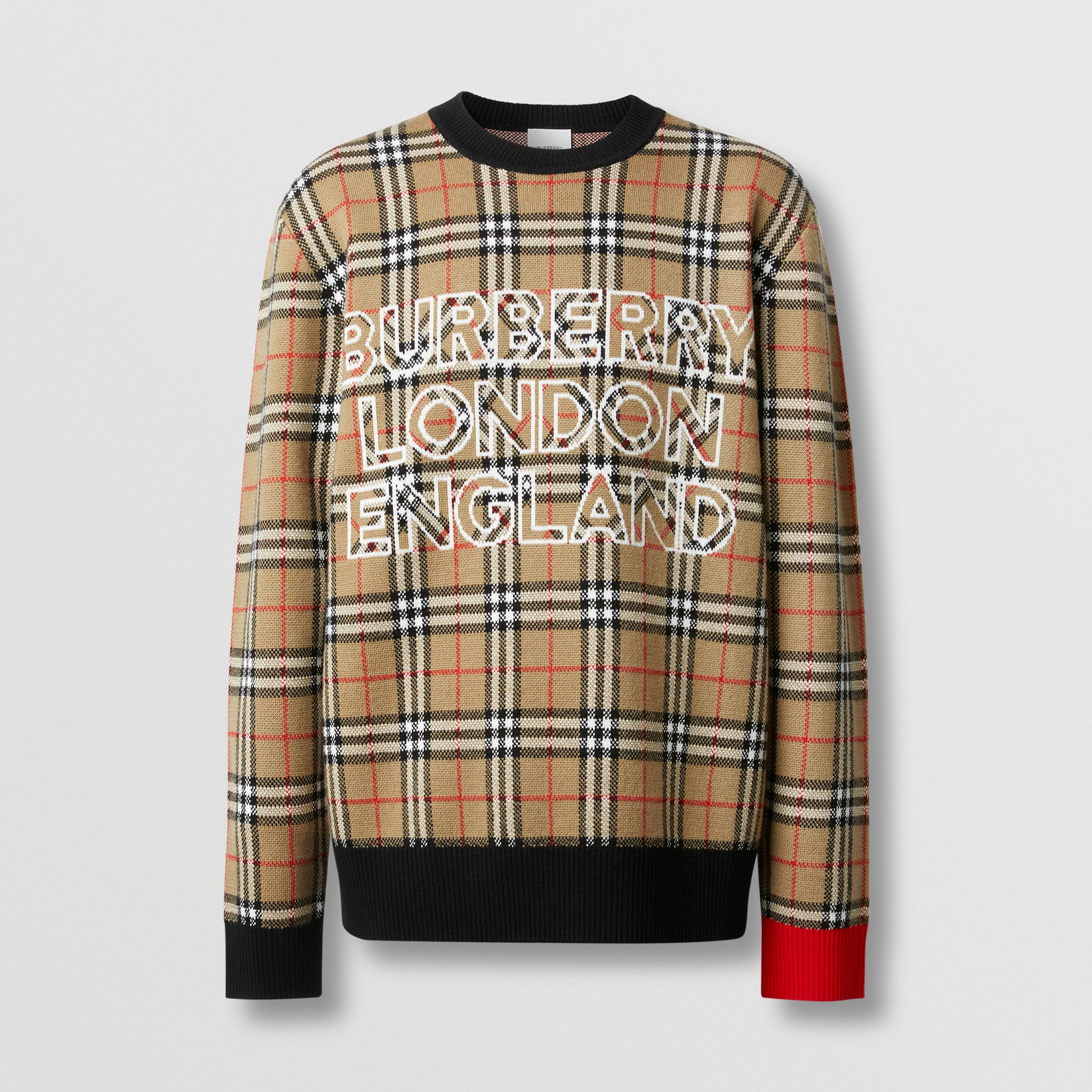 Logo Check Wool Cotton Jacquard Sweater in Archive Beige - Men | Burberry - 4