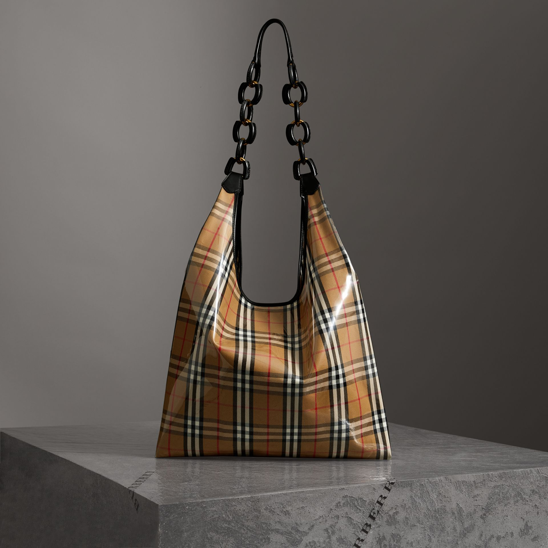 Medium Plastic Vintage Check and Leather Shopper in Antique Yellow/black - Women | Burberry Australia - gallery image 0