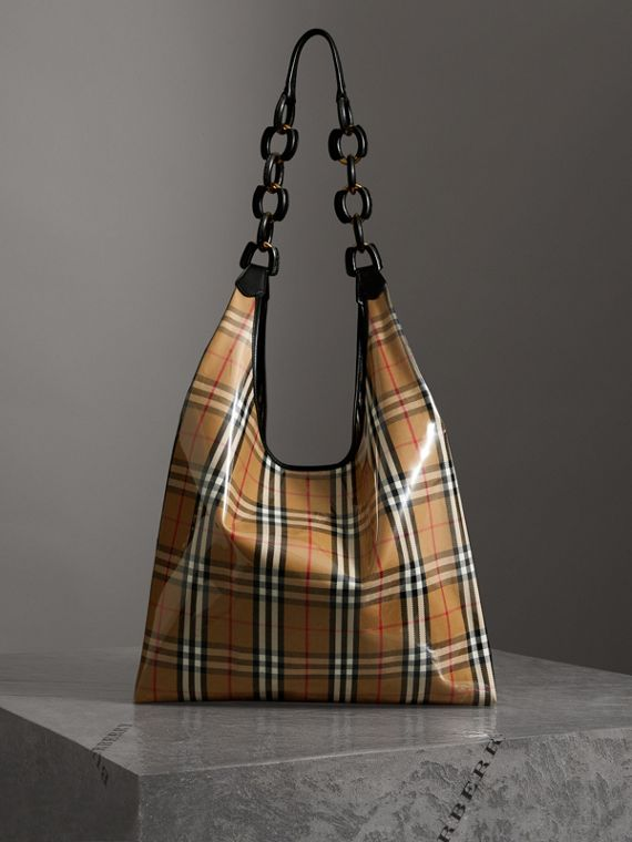 Shopper media in plastica con motivo Vintage check e finiture in pelle (Giallo Antico/nero)