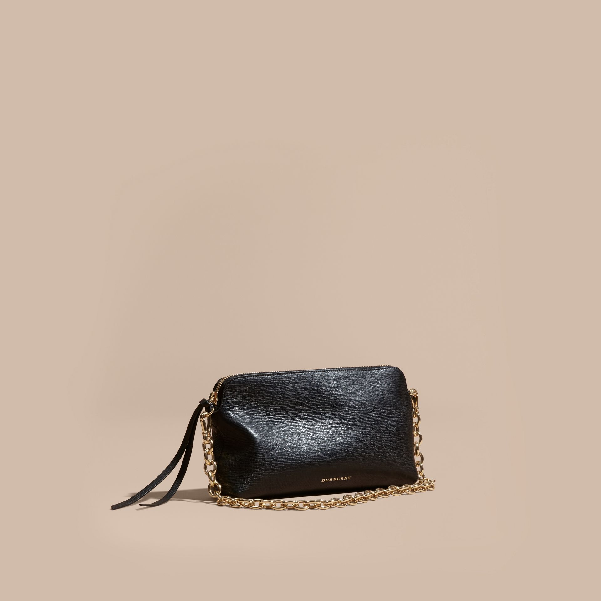 Black Grainy Leather Clutch Bag Black - gallery image 1