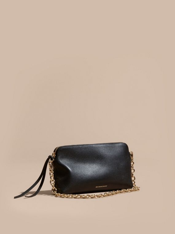 Grainy Leather Clutch Bag Black