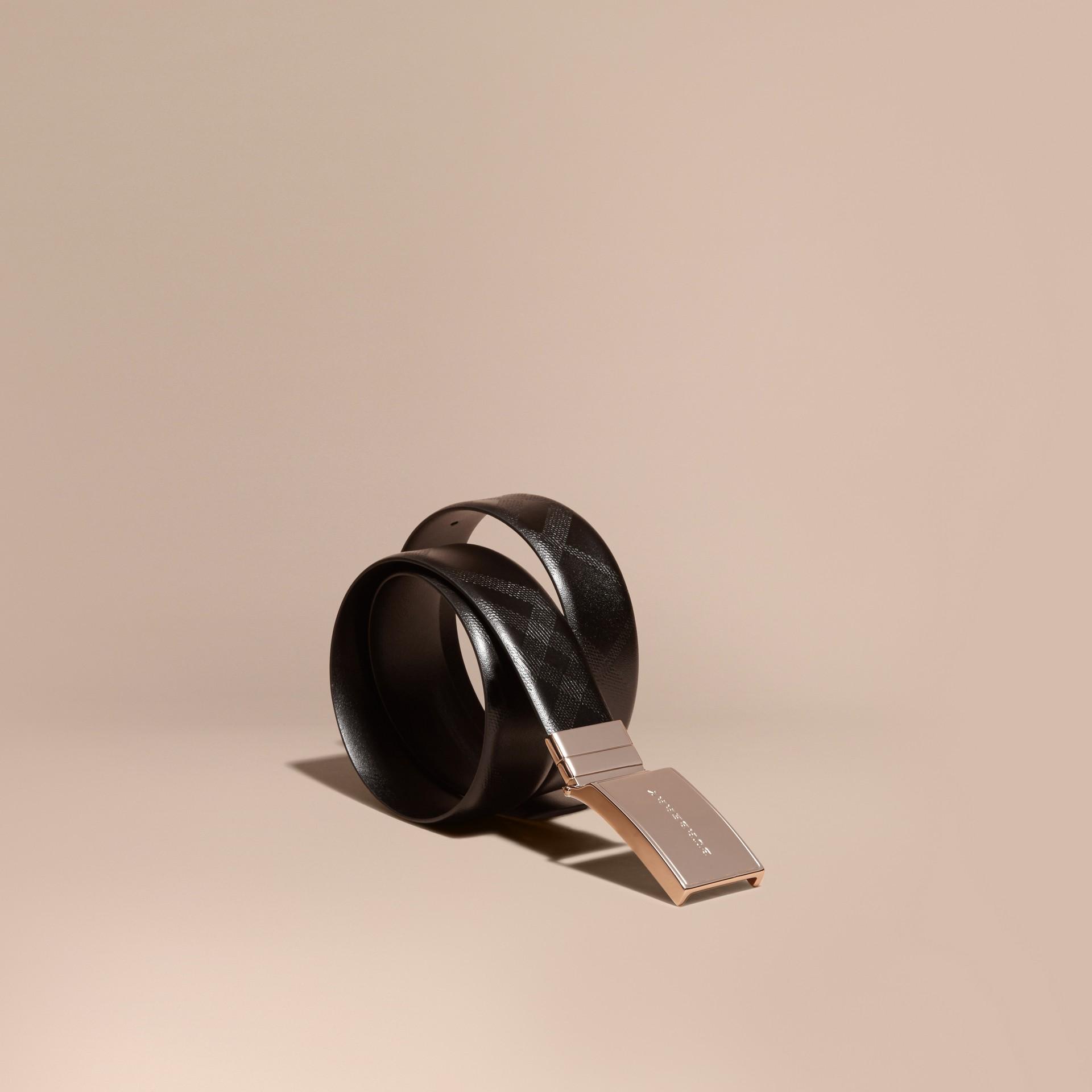 Noir Ceinture réversible en cuir estampé du motif check - photo de la galerie 1