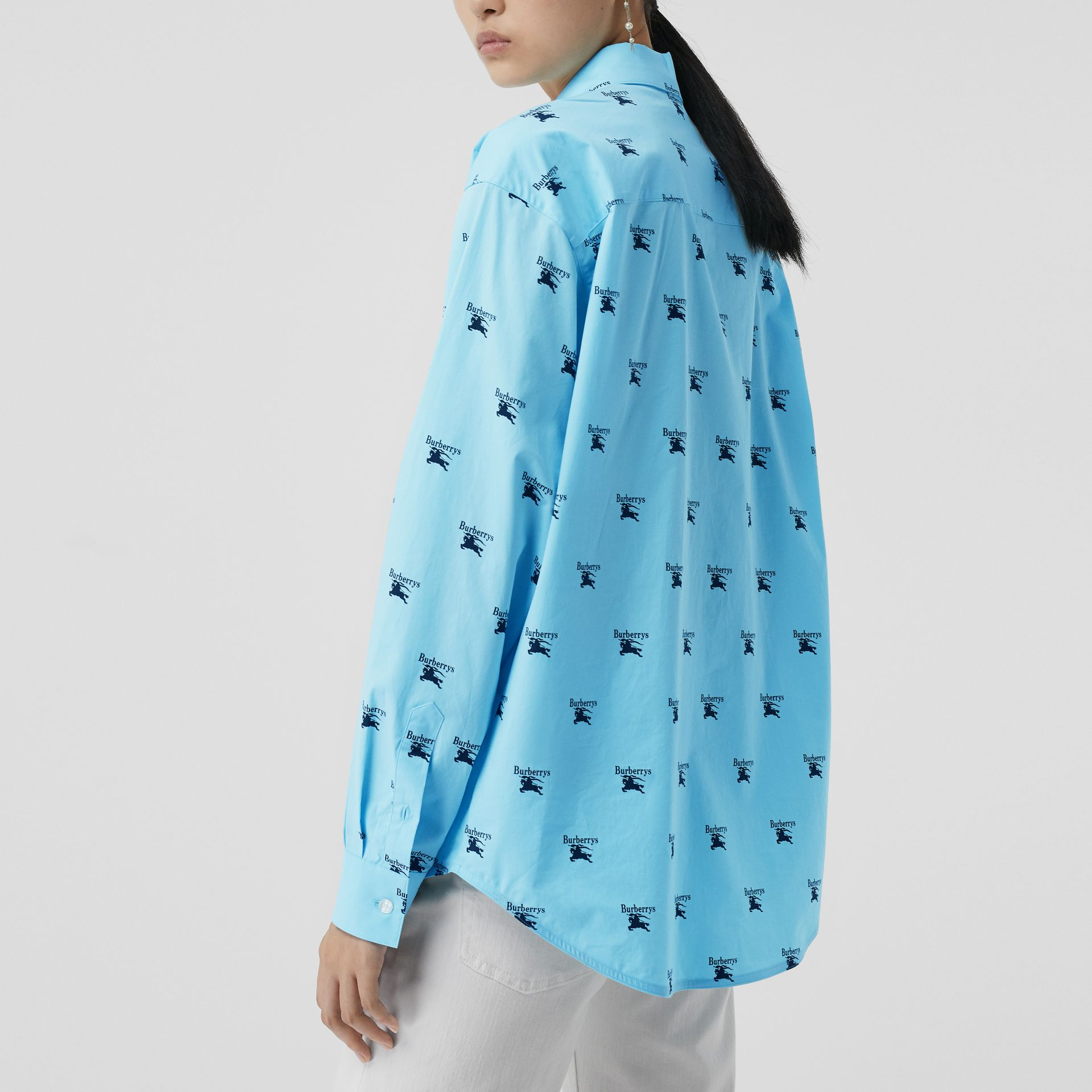 Logo Print Stretch Cotton Shirt in Sky Blue - Women | Burberry - gallery image 2