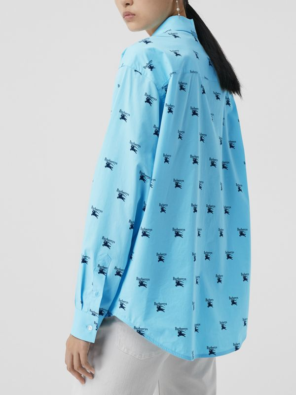Logo Print Stretch Cotton Shirt in Sky Blue - Women | Burberry - cell image 2