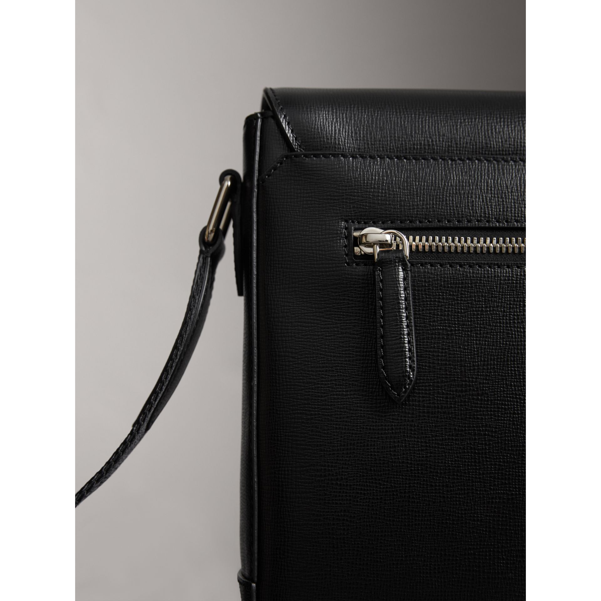 Medium London Leather Messenger Bag in Black - Men | Burberry - gallery image 1