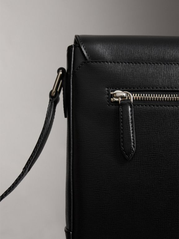 Medium London Leather Messenger Bag in Black - Men | Burberry - cell image 1