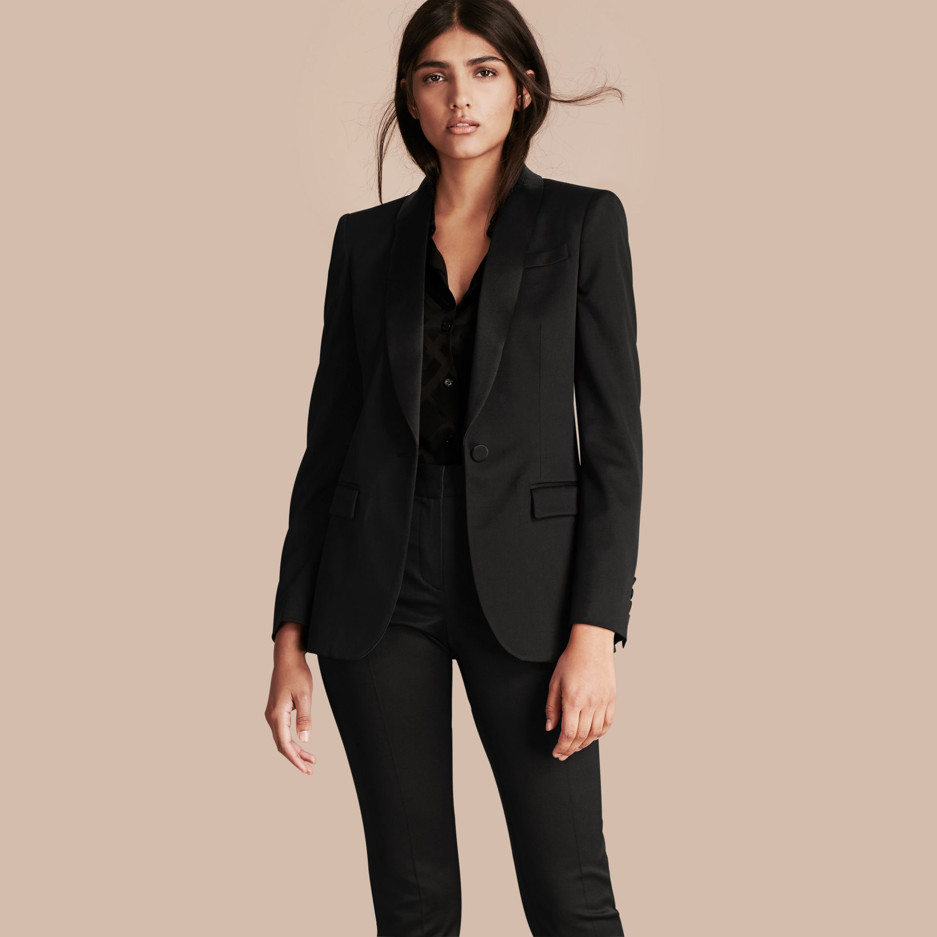 Black Stretch Wool Tuxedo Jacket - gallery image 1