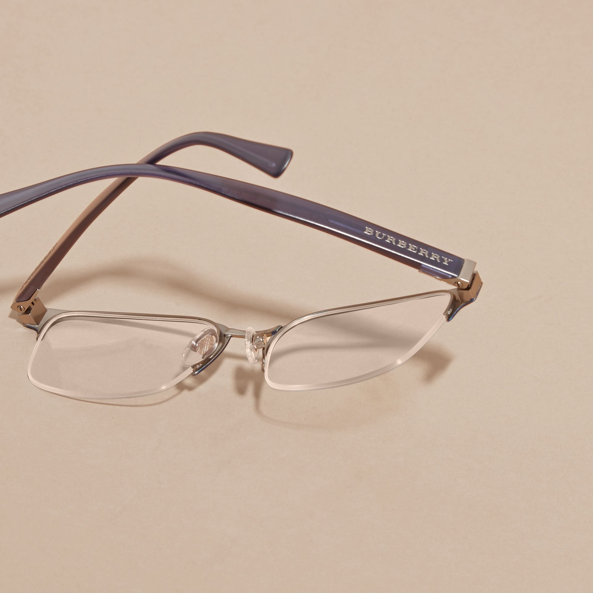 Half-rimmed Rectangular Optical Frames Dark Navy - gallery image 4