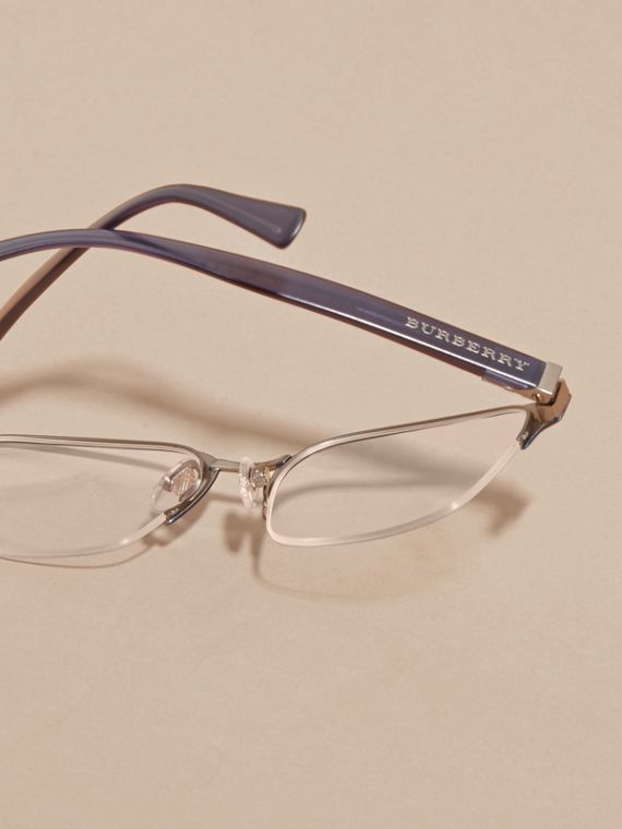 Navy scuro Montatura da vista rettangolare semi-rimless Navy Scuro - cell image 3