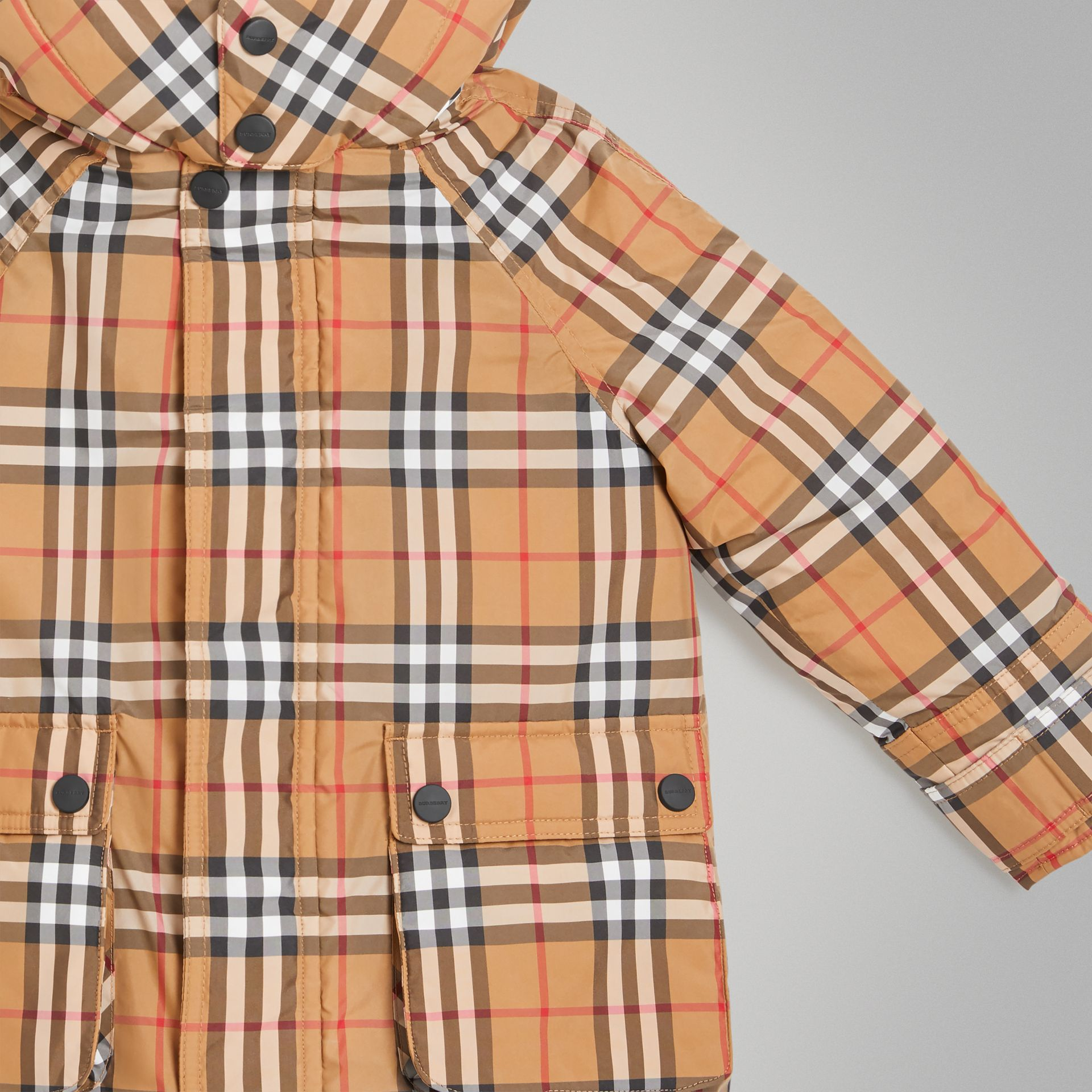 Vintage Check Down-filled Hooded Puffer Jacket in Antique Yellow | Burberry Canada - gallery image 4