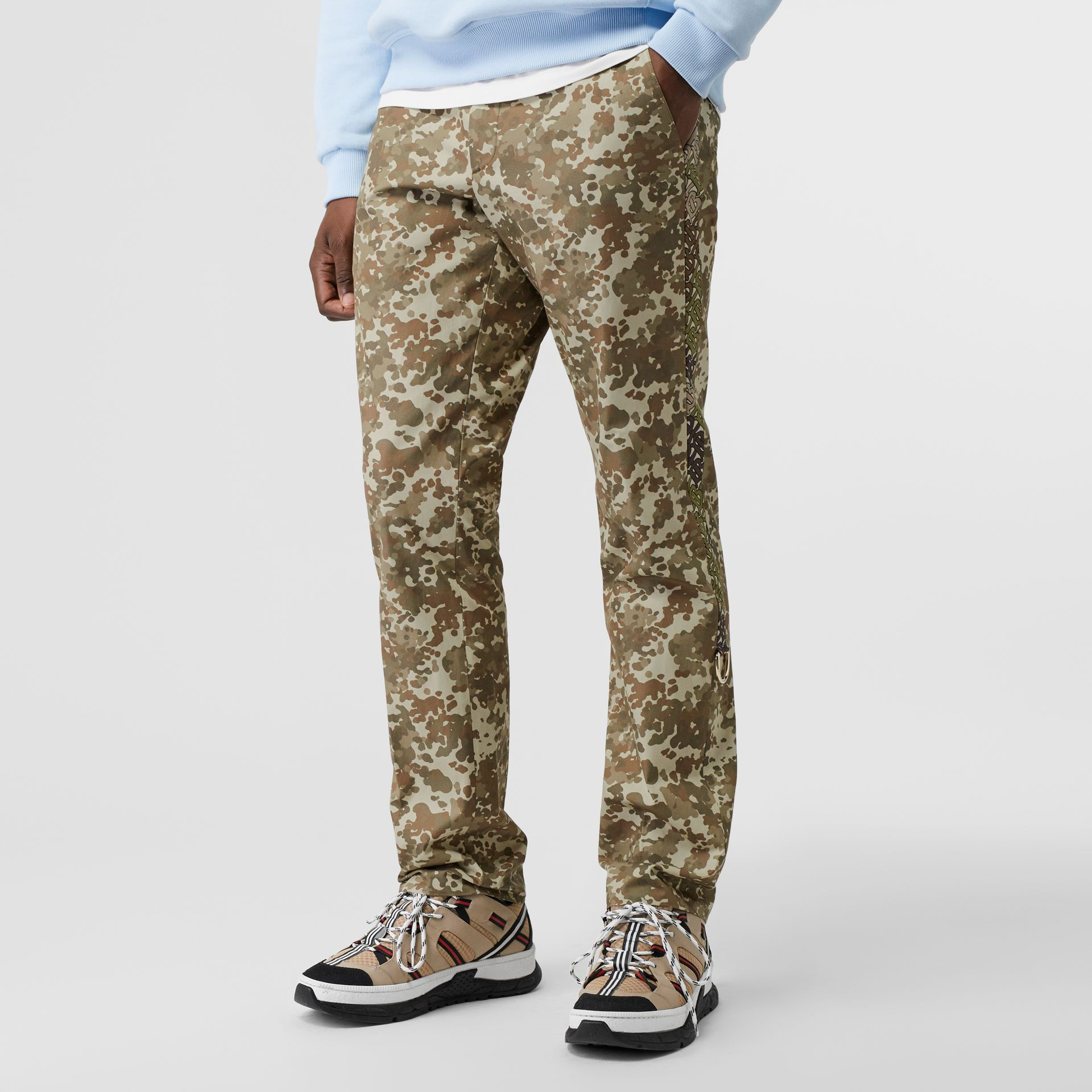 Monogram Print Stripe Detail Cotton Trousers in Khaki Green - Men | Burberry Hong Kong - gallery image 3
