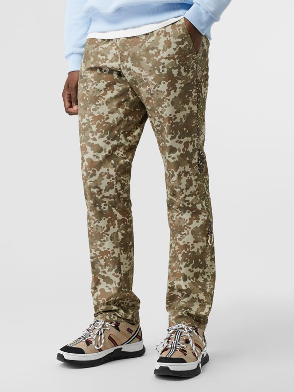 Monogram Print Stripe Detail Cotton Trousers in Khaki Green - Men | Burberry - cell image 3