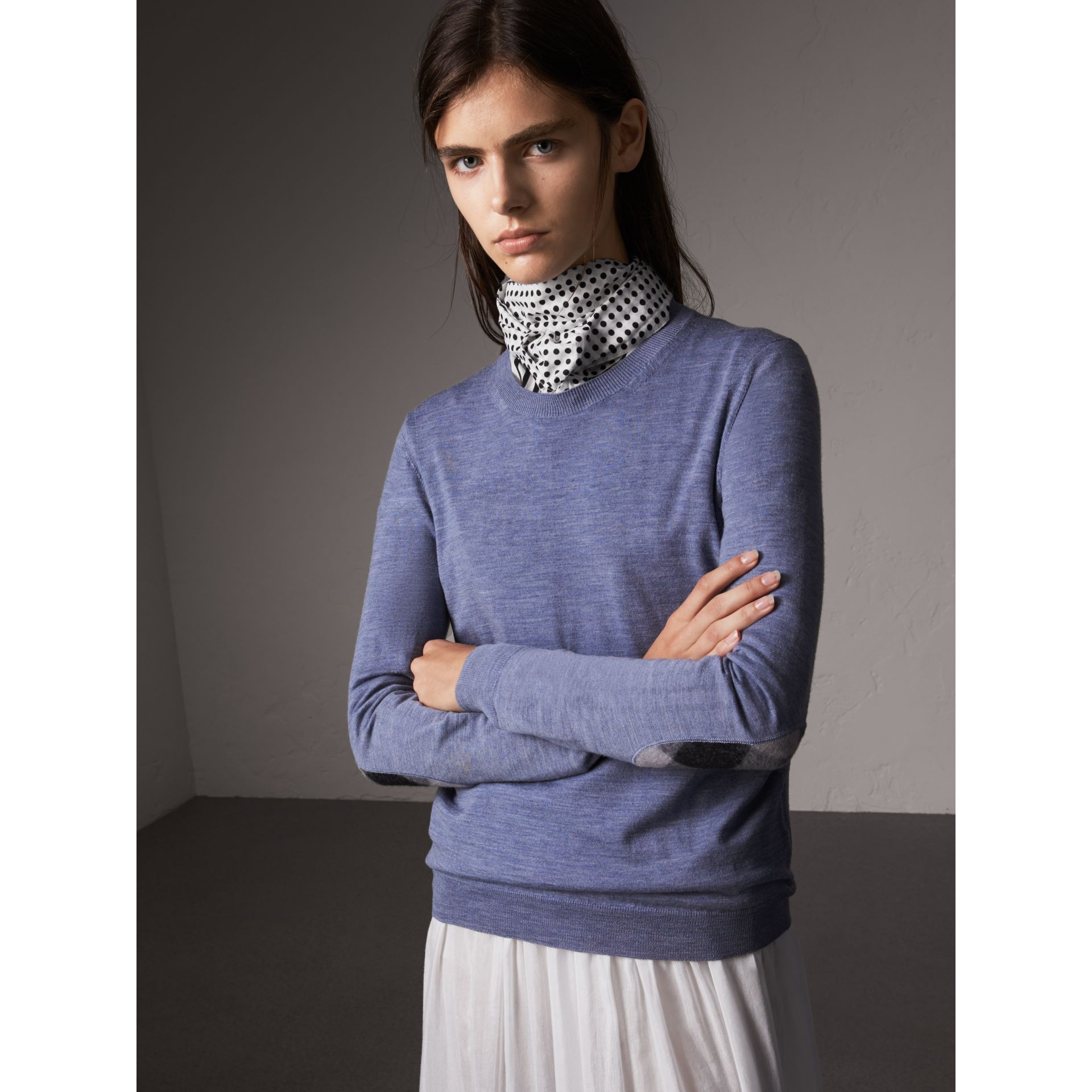 Check Detail Merino Wool Sweater in Indigo Blue - Women | Burberry - gallery image 1