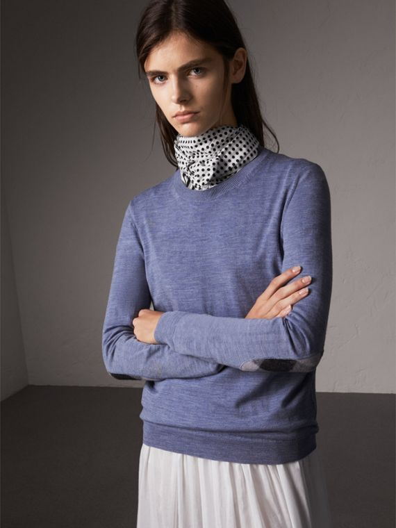 Check Detail Merino Wool Sweater in Indigo Blue