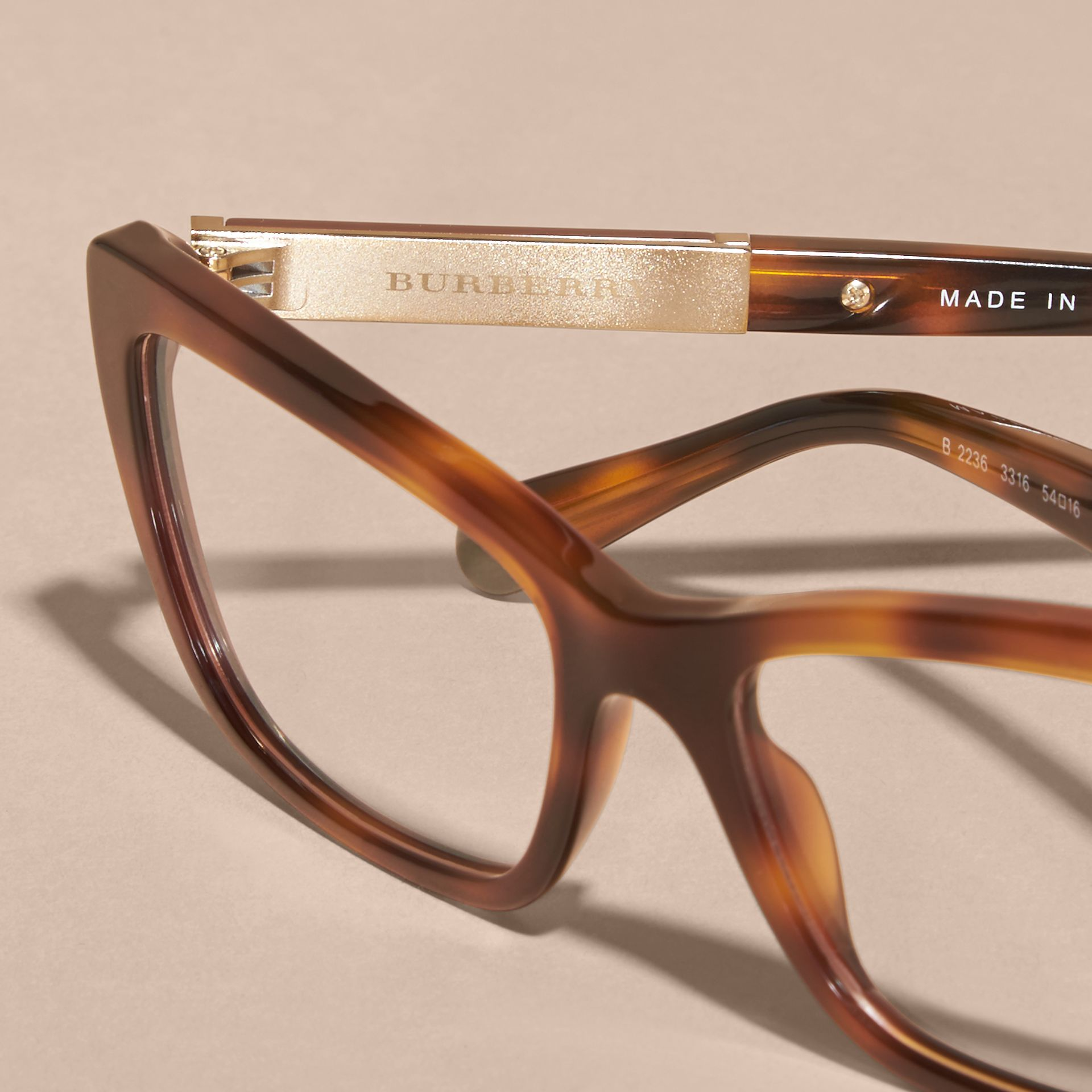 Light russet brown Check Detail Rectangular Cat-eye Optical Frames Light Russet Brown - gallery image 5