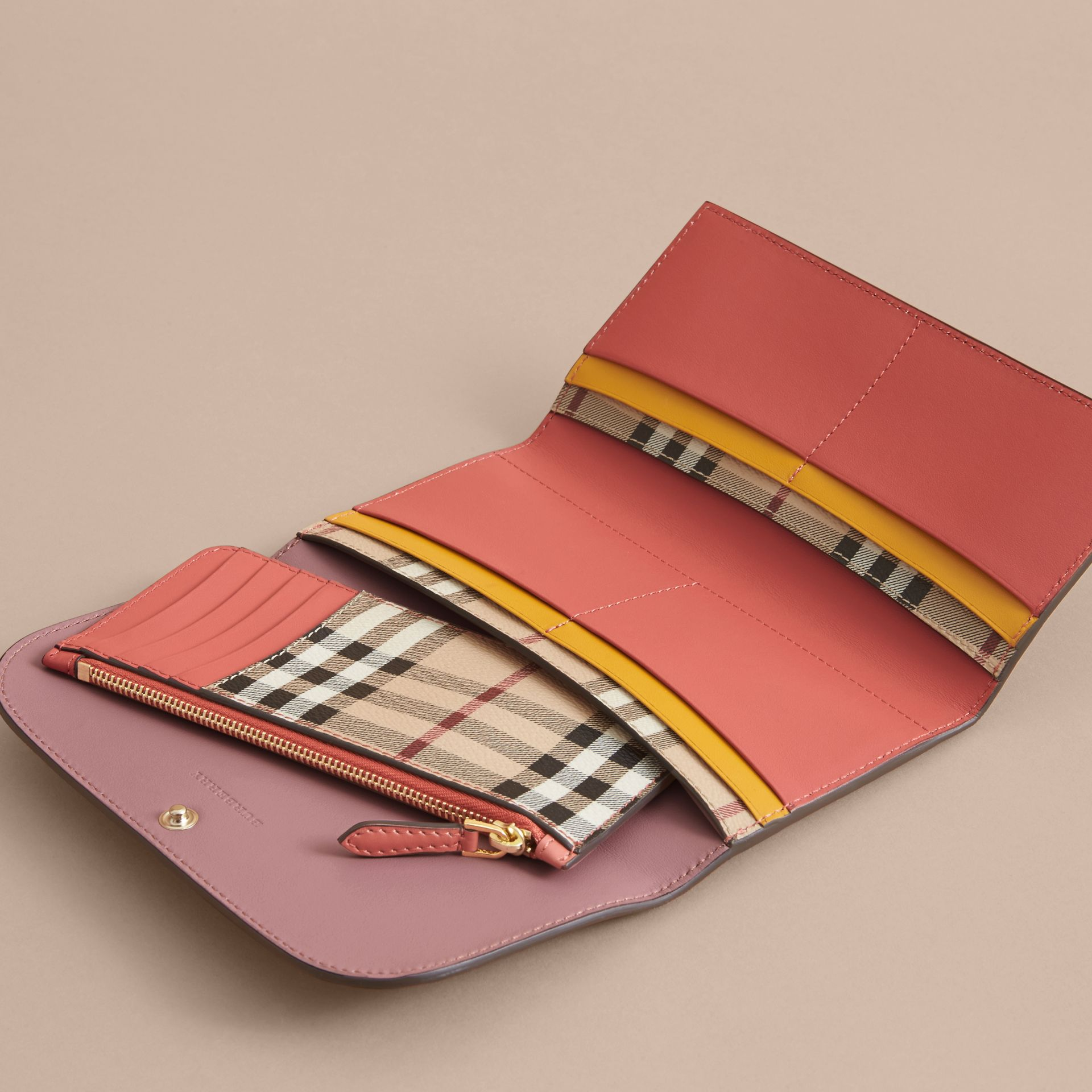 Two-tone Leather Continental Wallet and Coin Case in Cinnamon Red/multi - Women | Burberry - gallery image 5