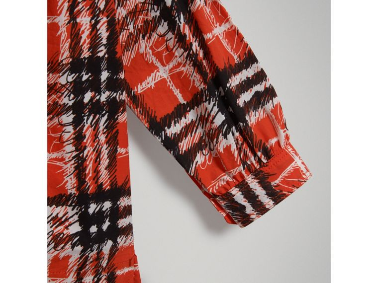Scribble Check Print Cotton Tunic Shirt in Bright Red - Girl | Burberry - cell image 4