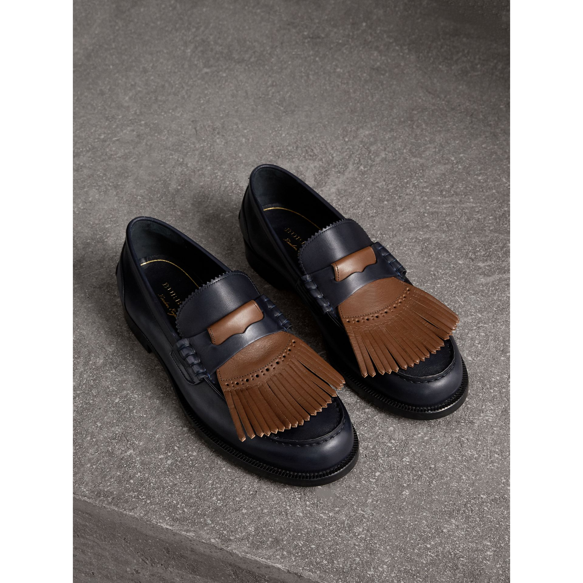 Contrast Kiltie Fringe Leather Loafers in Navy/dark Tan - Men | Burberry - gallery image 0