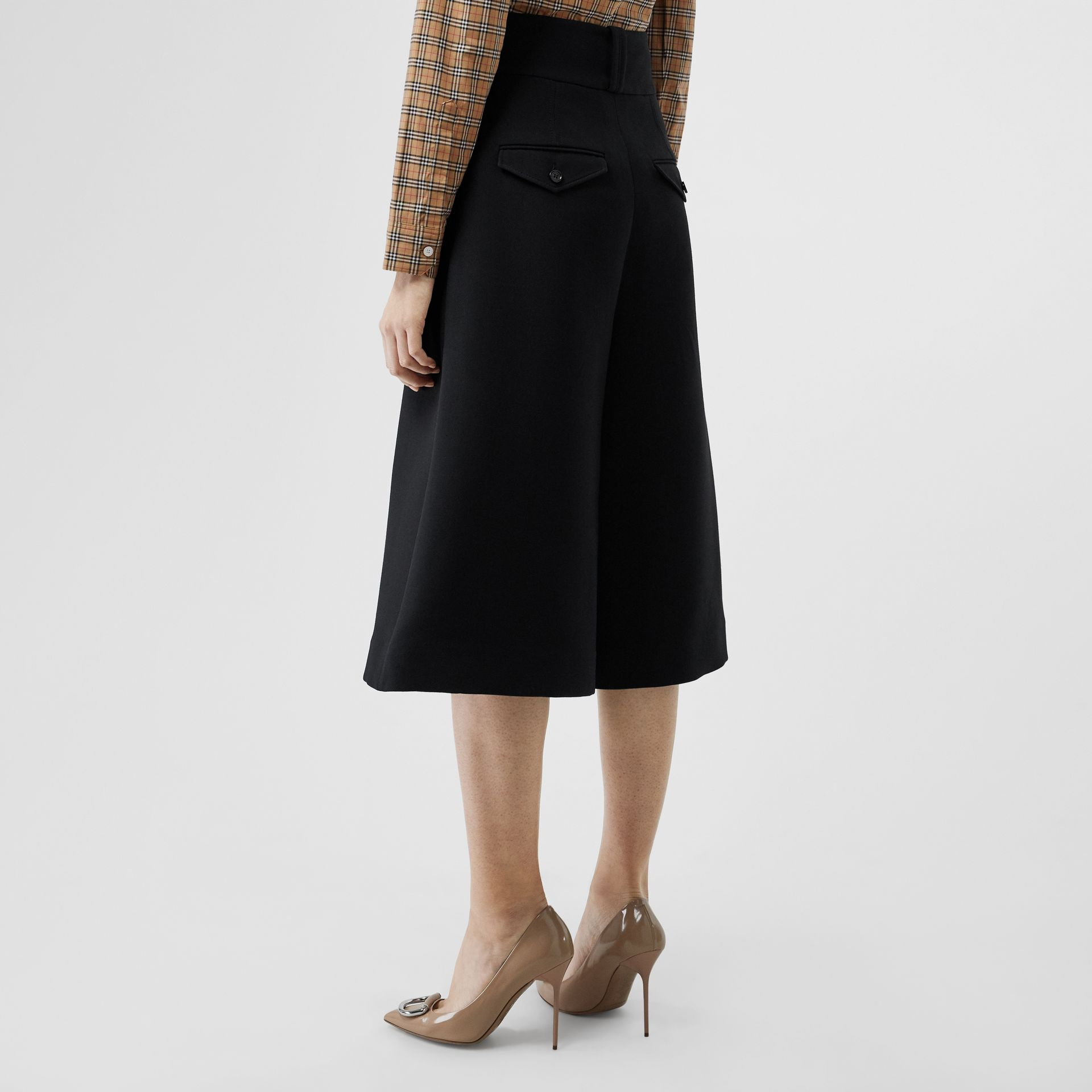 Wool Silk Wide-leg Culottes in Black - Women | Burberry Singapore - gallery image 2
