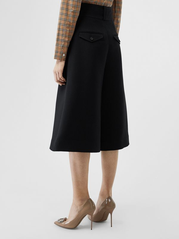 Wool Silk Wide-leg Culottes in Black - Women | Burberry Singapore - cell image 2