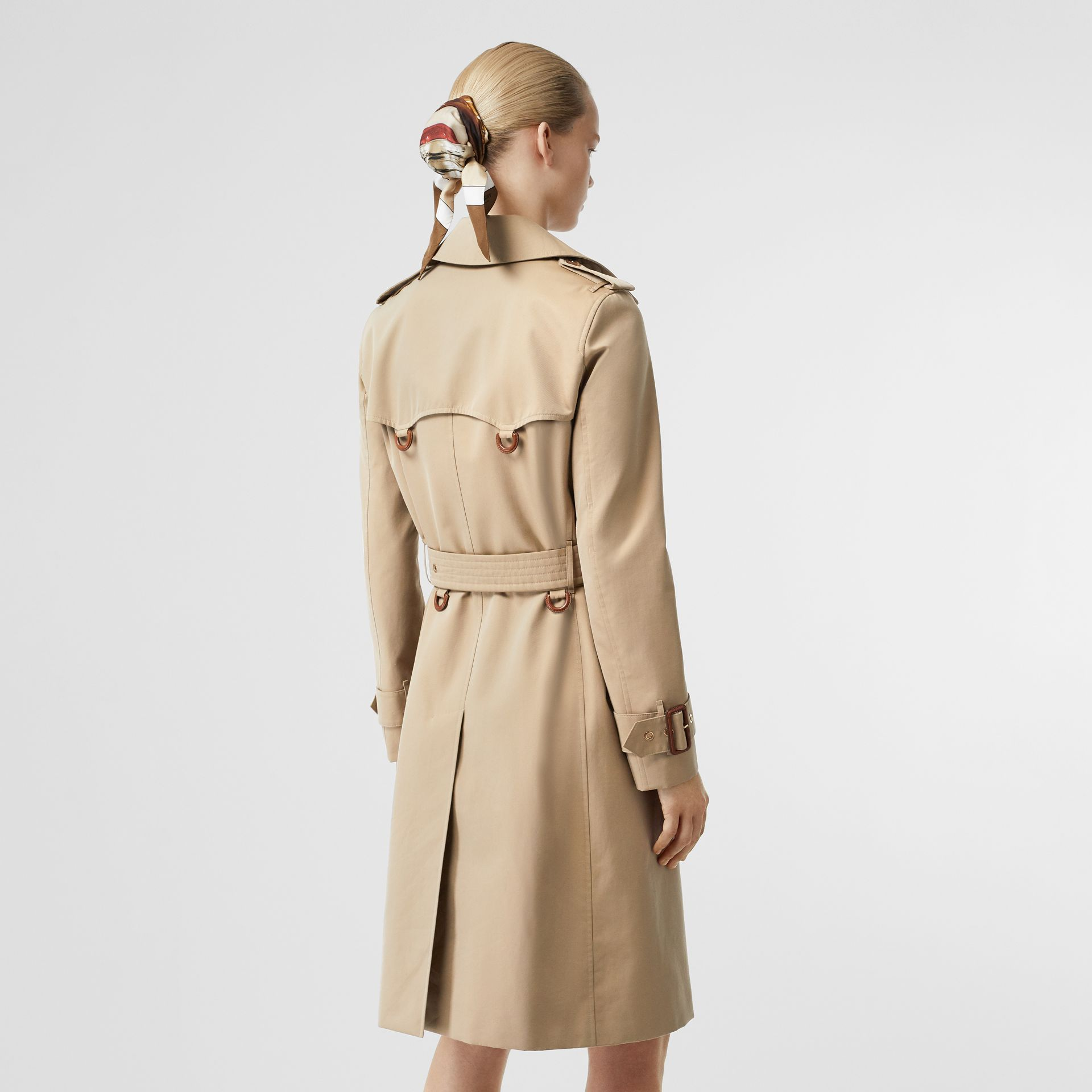 Leather D-ring Detail Cotton Gabardine Trench Coat in Honey - Women | Burberry - gallery image 2