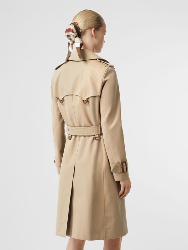 Leather D-ring Detail Cotton Gabardine Trench Coat in Honey - Women | Burberry - cell image 2
