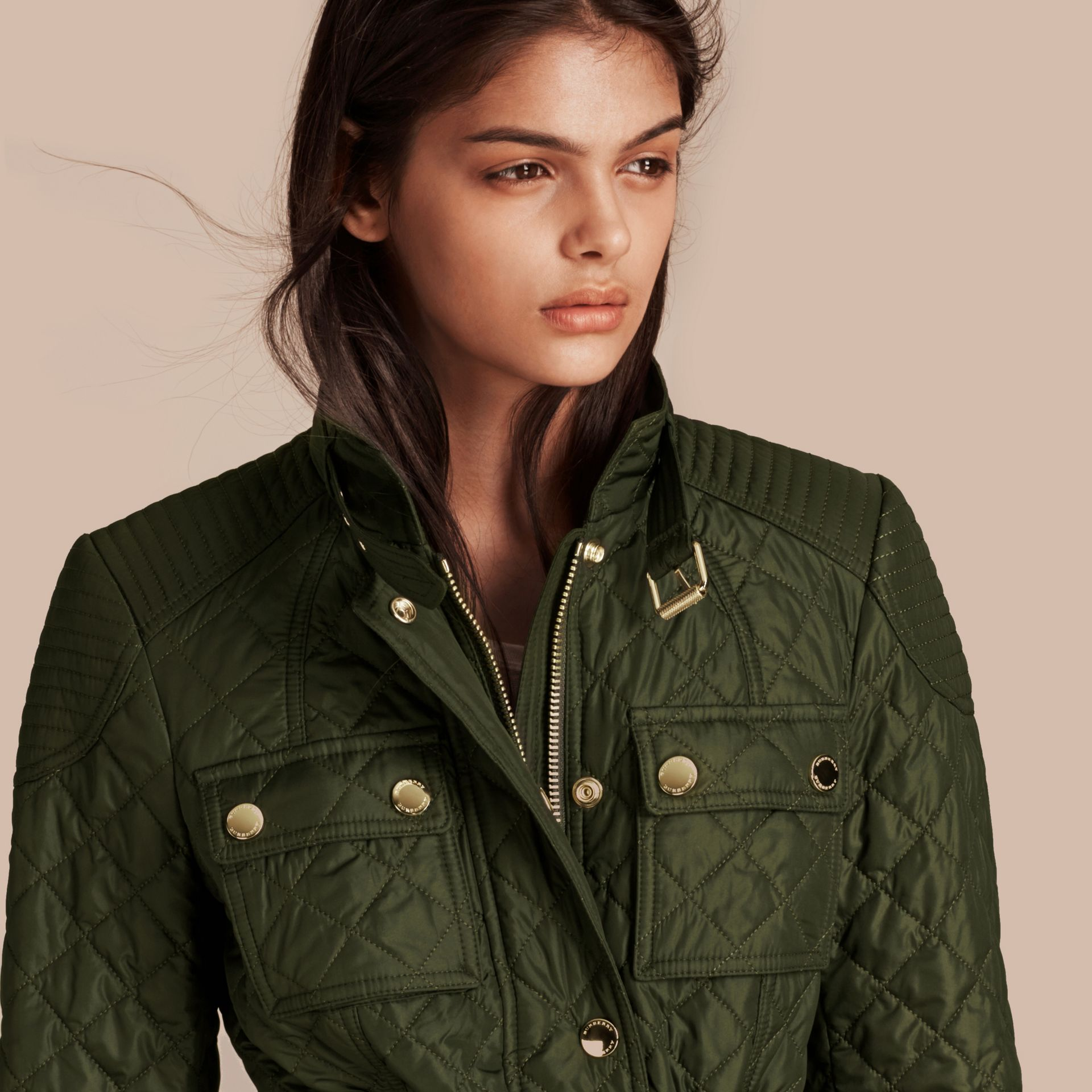 Olive Diamond Quilted Field Jacket with Panel Detail - gallery image 5
