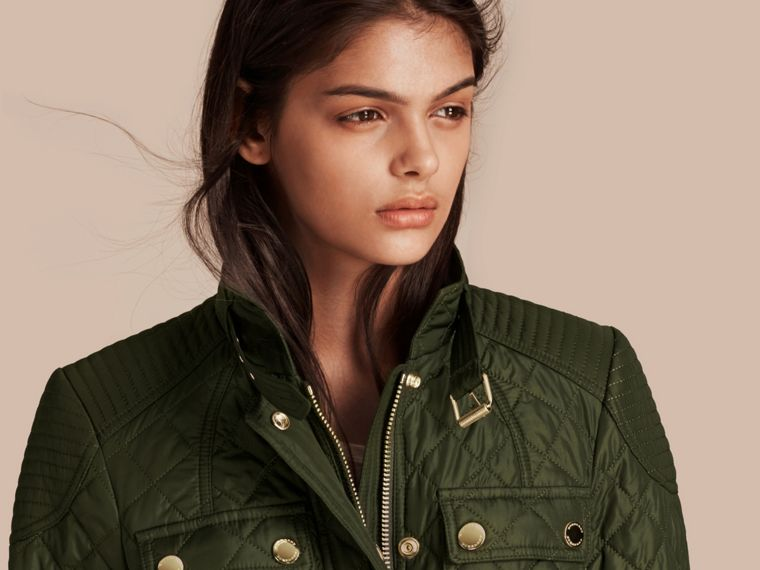 Olive Diamond Quilted Field Jacket with Panel Detail - cell image 4