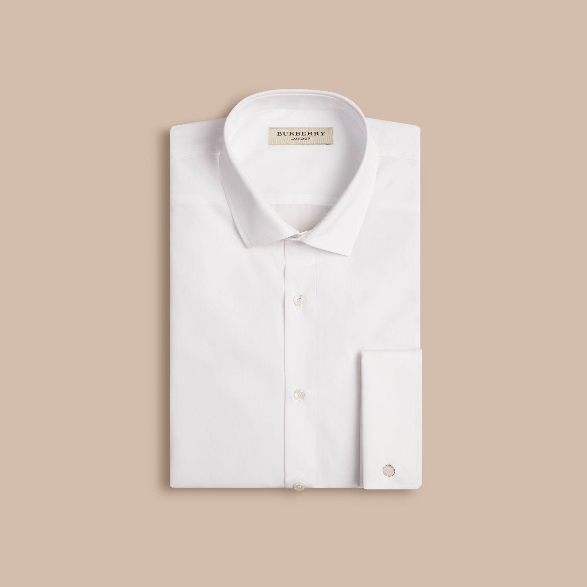 White Modern Fit Double-cuff Cotton Poplin Shirt White - gallery image 4