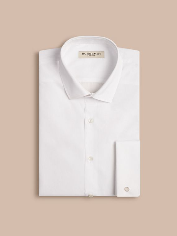 Modern Fit Double-cuff Cotton Poplin Shirt in White