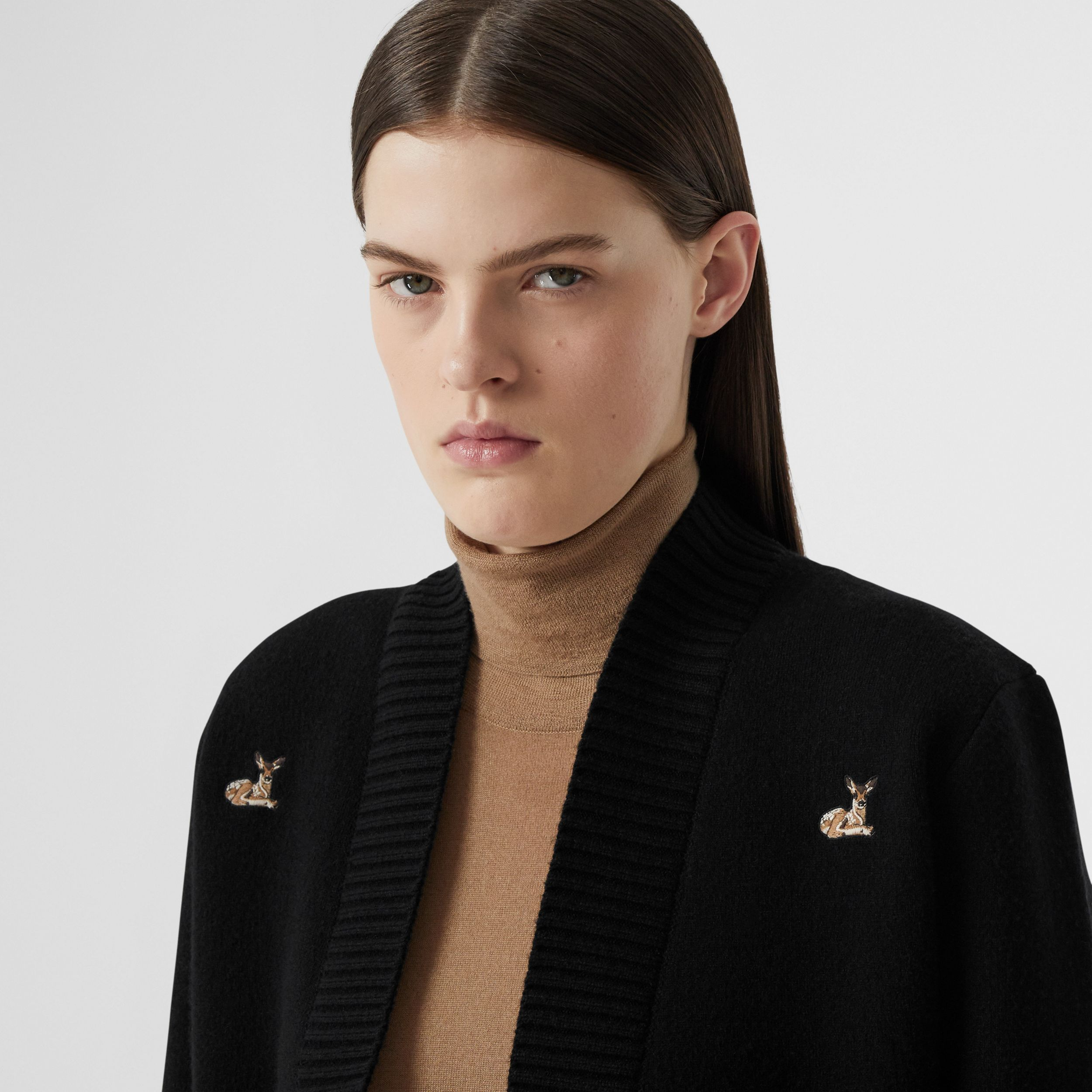 Deer Motif Wool Cashmere Blend Oversized Cardigan in Black - Women | Burberry - 2