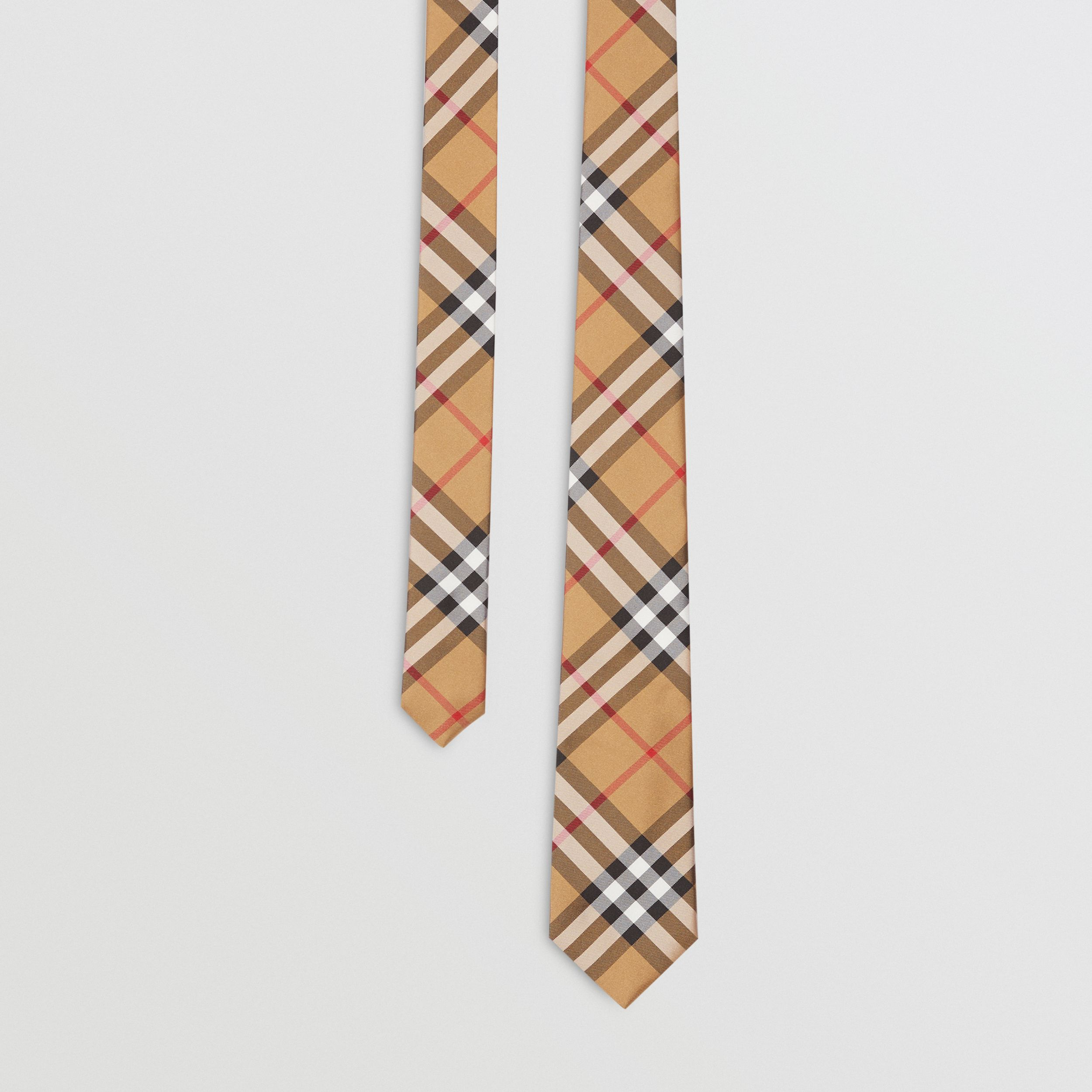 Modern Cut Vintage Check Silk Tie in Antique Yellow - Men | Burberry - 1