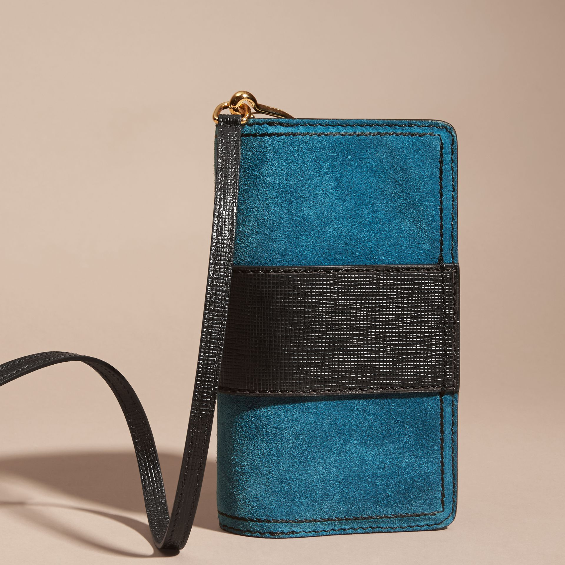 The Small Buckle Bag in Suede with Topstitching in Peacock Blue /black - gallery image 5