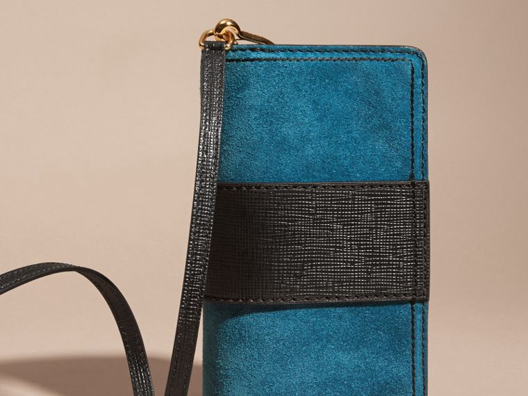 The Small Buckle Bag in Suede with Topstitching in Peacock Blue /black - cell image 4