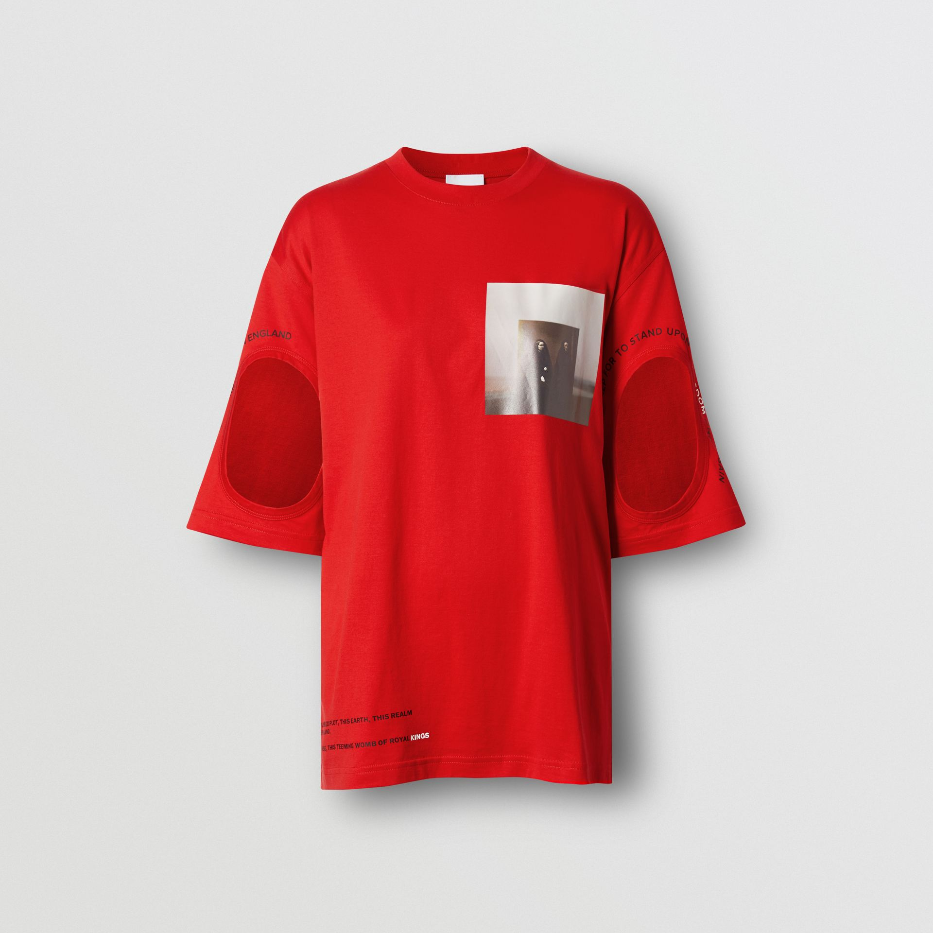 Cut-out Detail Montage Print Oversized T-shirt in Bright Red - Women | Burberry United Kingdom - gallery image 3