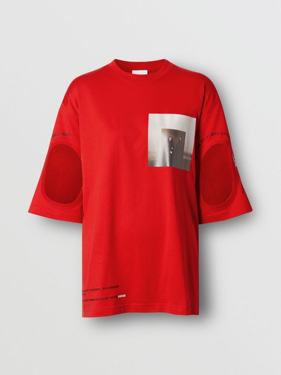 Cut-out Detail Montage Print Oversized T-shirt in Bright Red