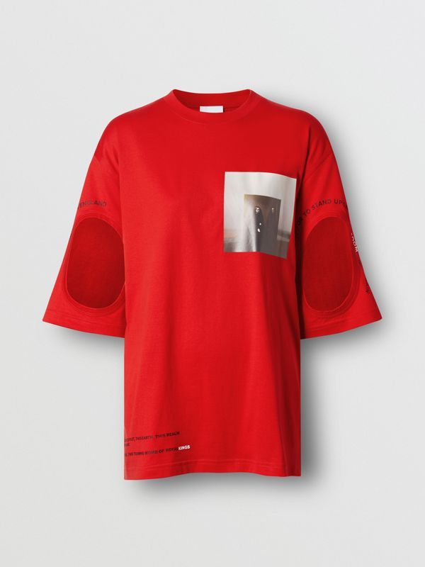 Cut-out Detail Montage Print Oversized T-shirt in Bright Red - Women | Burberry United Kingdom - cell image 3