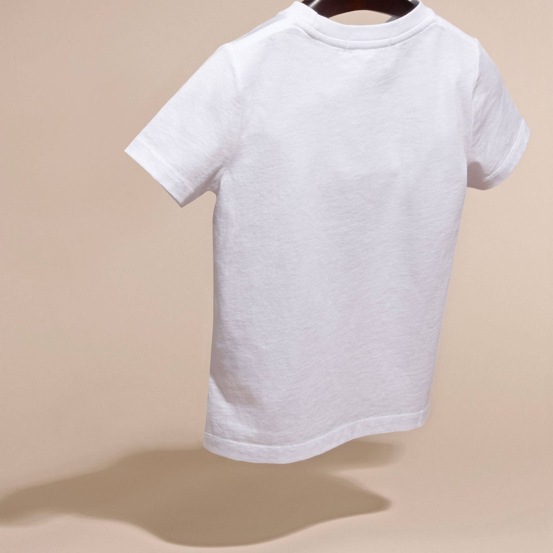 White Beetle Motif Cotton T-shirt - gallery image 4