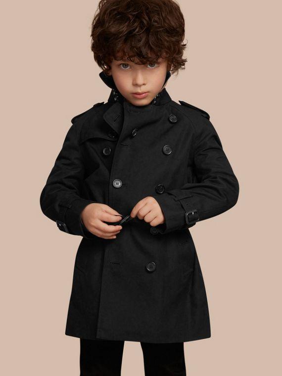 The Wiltshire – Heritage Trench Coat in Black - Boy | Burberry Singapore