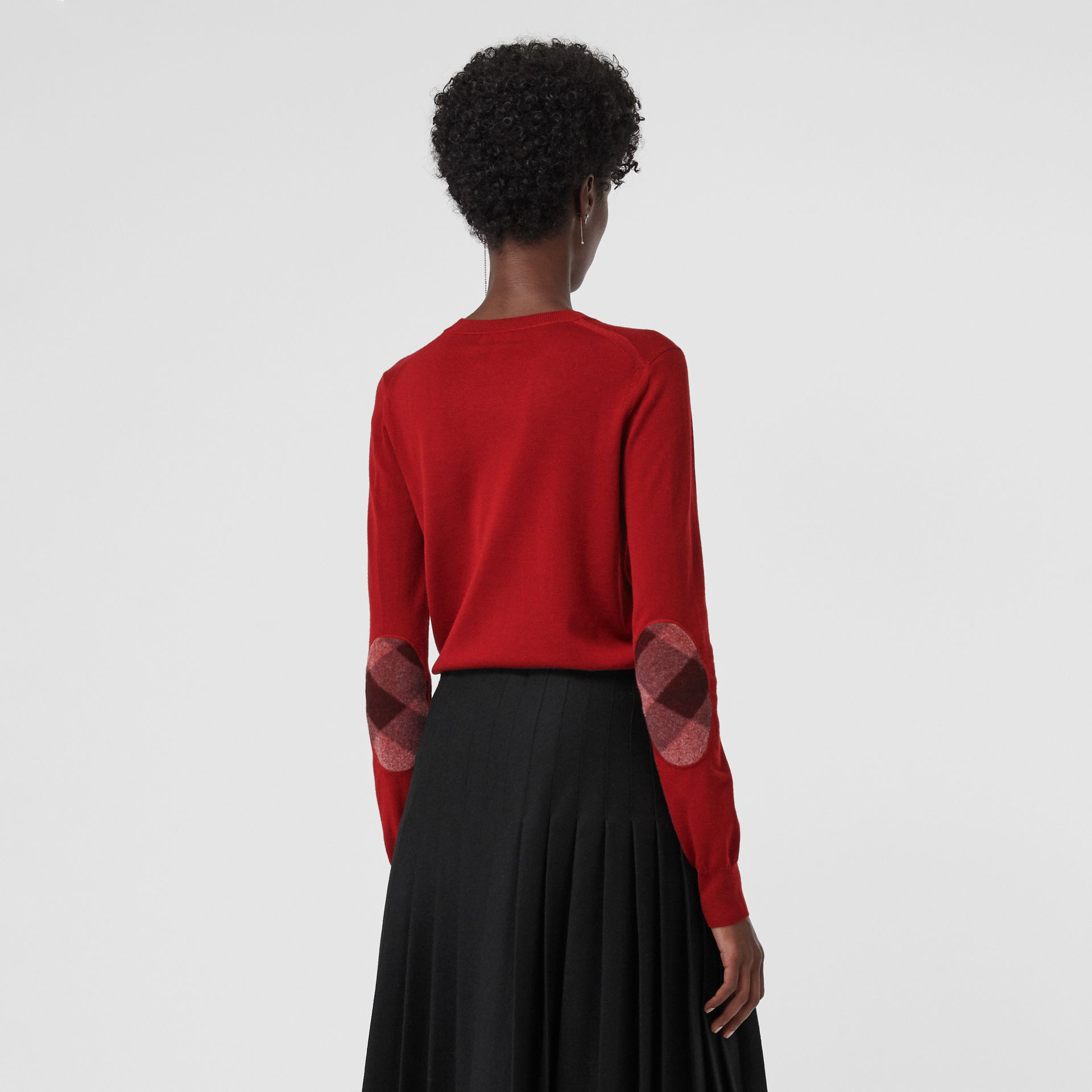 Check Detail Merino Wool Sweater in Parade Red - Women | Burberry - gallery image 4