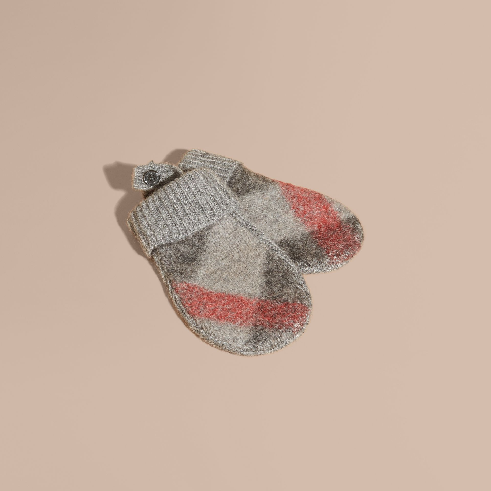 Light grey melange Check Wool and Cashmere Mittens - gallery image 1