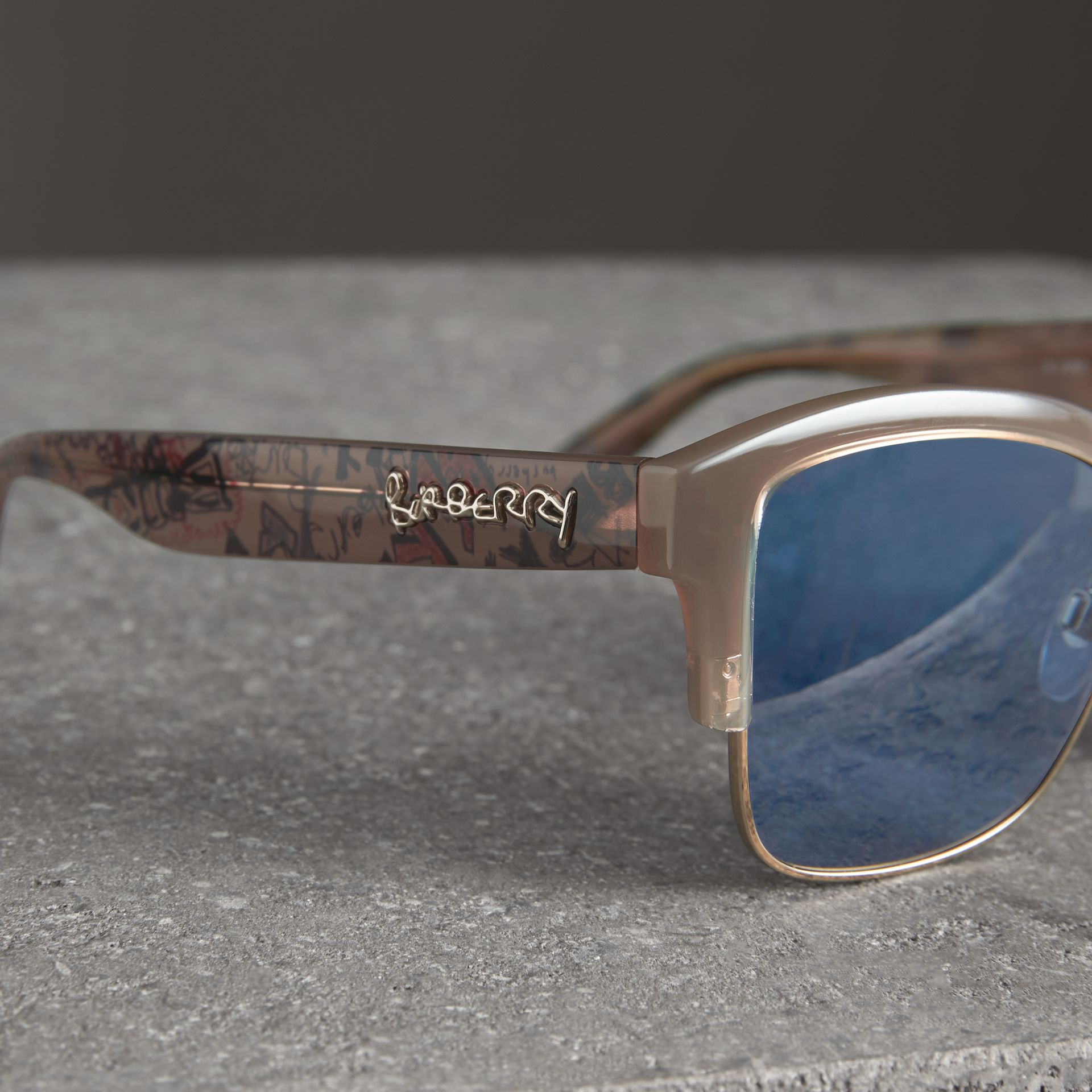 Doodle Square Frame Sunglasses in Trench - Women | Burberry Singapore - gallery image 1