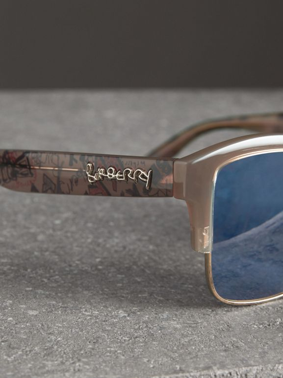 Doodle Square Frame Sunglasses in Trench - Women | Burberry Canada - cell image 1