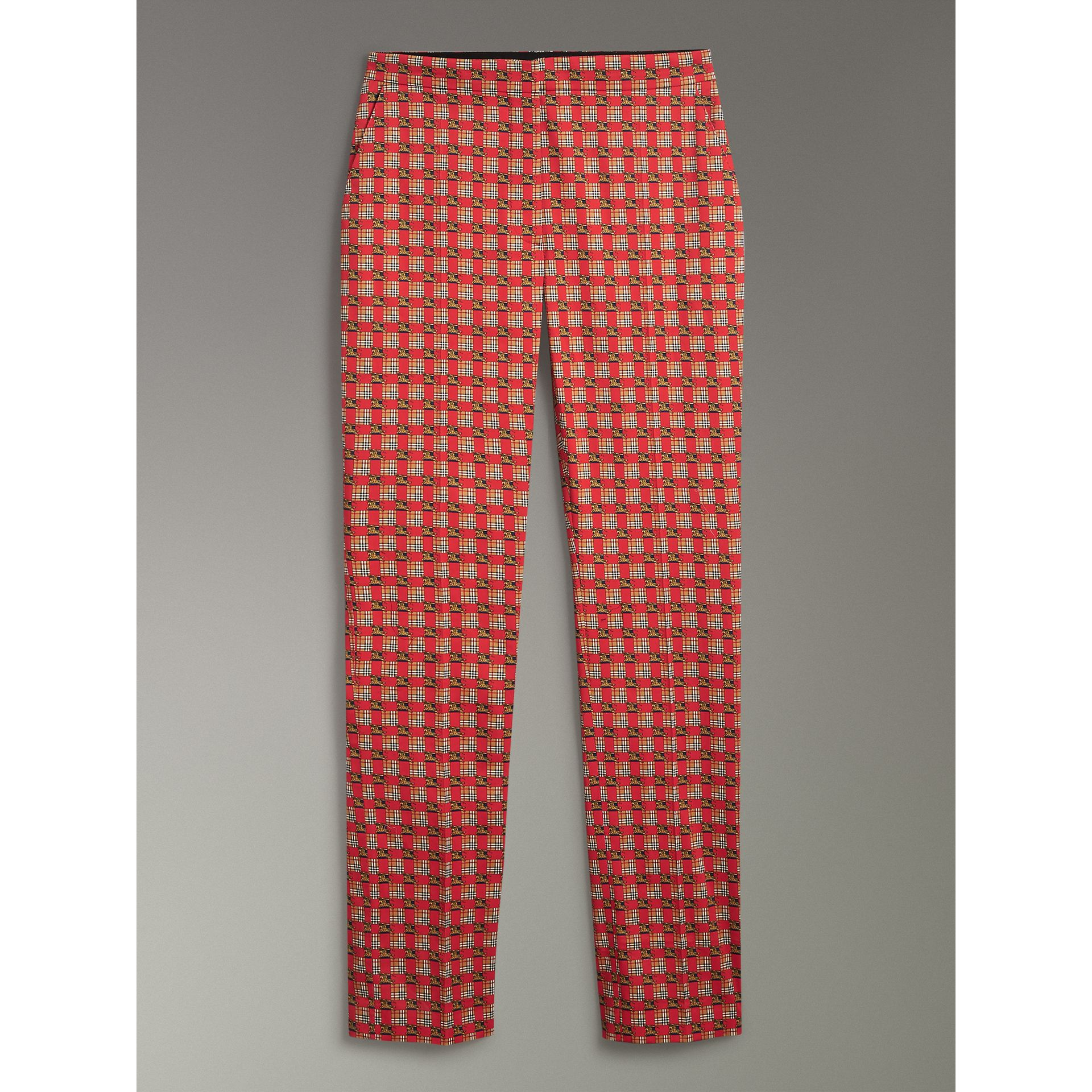 Equestrian Check Print Stretch Cotton Cigarette Trousers in Bright Red - Women | Burberry Canada - gallery image 3